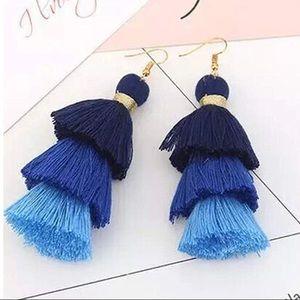 NWOT Blue tassel earrings